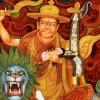 在西藏昌都色林萨贡寺的巨大多杰雄登的佛像